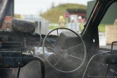 Огонь и взрыв автомобиля Стоковая Фотография