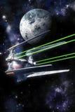 Огонь и планета бойца космического корабля открытые Стоковое фото RF