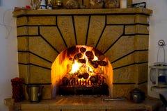 Огонь камина и камина, швырок стоковая фотография rf