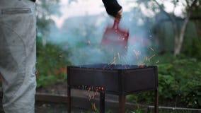 Огонь крупного плана в барбекю сток-видео