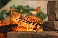Огонь на барбекю Стоковые Изображения RF