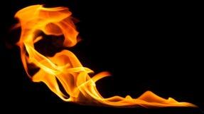 Огонь на черной предпосылке Стоковая Фотография