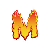 Огонь письма m Пылает литерность шрифта Характер алфавита татуировки Стоковые Изображения