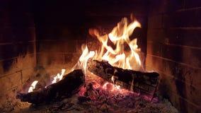 Огонь пылает древесины в зиме камина Стоковое Изображение