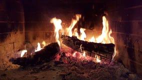Огонь пылает древесины в зиме камина Стоковая Фотография