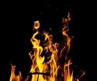 Огонь пламени на черной предпосылке Стоковая Фотография