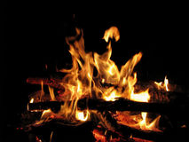 Огонь пламени на черной предпосылке Стоковые Фотографии RF