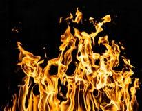Огонь пламени на черной предпосылке Стоковое Фото