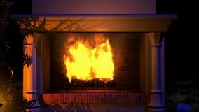 Огонь рождества в камине видеоматериал