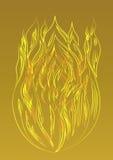 Огонь силуэта золотой на желтой предпосылке Стоковые Изображения RF