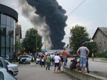 Огонь сломал вне на моле Стоковая Фотография RF