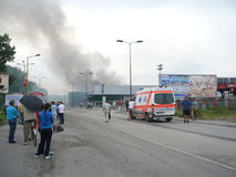 Огонь сломал вне на моле Стоковые Фотографии RF