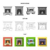 Огонь, тепло и комфорт Значки собрания камина установленные в квартире, плане, monochrome запасе символа вектора стиля иллюстрация штока
