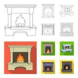Огонь, тепло и комфорт Значки собрания камина установленные в плане, плоской сети иллюстрации запаса символа вектора стиля иллюстрация вектора