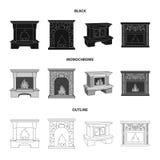 Огонь, тепло и комфорт Значки собрания камина установленные в черной, monochrome, запас символа вектора стиля плана иллюстрация вектора