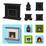Огонь, тепло и комфорт Значки собрания камина установленные в черной, плоской сети иллюстрации запаса символа вектора стиля бесплатная иллюстрация