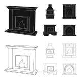 Огонь, тепло и комфорт Значки собрания камина установленные в черноте, сети иллюстрации запаса символа вектора стиля плана бесплатная иллюстрация