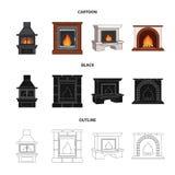 Огонь, тепло и комфорт Значки собрания камина установленные в шарже, черноте, иллюстрации запаса символа вектора стиля плана иллюстрация вектора