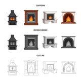 Огонь, тепло и комфорт Значки собрания камина установленные в шарже, плане, monochrome запасе символа вектора стиля бесплатная иллюстрация