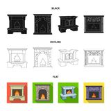 Огонь, тепло и комфорт Значки собрания камина установленные в шарже вводят сеть в моду иллюстрации запаса символа вектора иллюстрация вектора