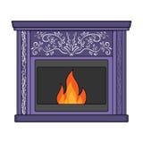 Огонь, тепло и комфорт Значок камина одиночный в стиле шаржа бесплатная иллюстрация