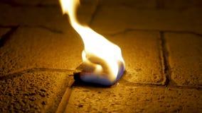 Огонь угля с древесиной на цементе Уголь огня на каменном поле Стоковое Фото