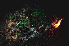 Огонь уловленный материнской платой Стоковая Фотография