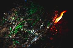 Огонь уловленный материнской платой Стоковое фото RF