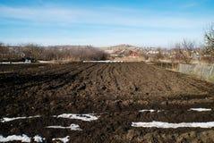 Огород в деревне в предыдущей весне Стоковое фото RF