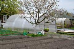 Огород и парник от клетчатого поликарбоната Стоковые Изображения RF