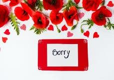 Огорченная карточка с маком цветет на белой предпосылке Стоковая Фотография RF