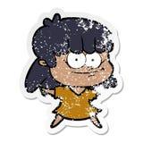 огорченный стикер усмехаться девушки мультфильма иллюстрация штока