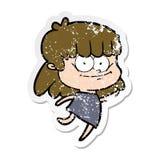 огорченный стикер усмехаться девушки мультфильма бесплатная иллюстрация
