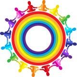 логос Дети, младенцы сидя в радуге объезжают Стоковое Фото
