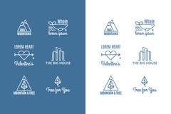 6 логотипов вектора тенденции стиля битника Стоковая Фотография