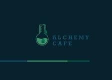 логотип на алхимии и необыкновенном кафе Стоковое фото RF