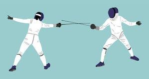 Ограждать конкуренцию поединка Бой шпаги Поединок Swordplay иллюстрация вектора