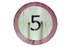 Ограничение в скорости ` дорожного знака 5 km/h ` изолированного на белизне Стоковые Фотографии RF