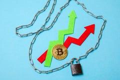 Ограничение роста bitcoin, задержки Монетка и стрелки обернуты вверх в цепях и запертый Стоковые Фотографии RF