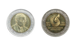 Ограниченный тираж 10 монеток Таиланда бата Стоковое Изображение