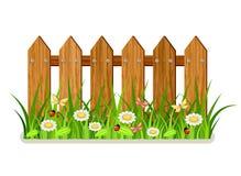 оградите солнцецветы лета лужка деревянные иллюстрация вектора