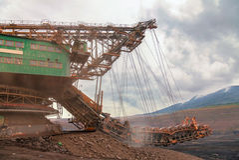 Огромная добыча угля, машина угля Стоковое Изображение RF