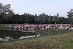 Огромная толпа туристов наслаждаясь пейзажем Туристы около пруда в тропиках стоковое изображение rf