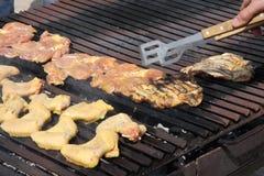 Барбекю в саде с вкусным мясом к пожару Стоковая Фотография RF