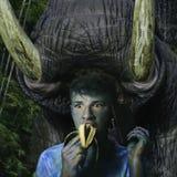Огромное животное с большими бивнями, около атаковать jaunted touri стоковая фотография