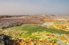 Огромное зеленое поле с желтыми пятнами вулканов лавы серных, пустыня Danakil, Afar таз, север Эфиопии Стоковые Изображения