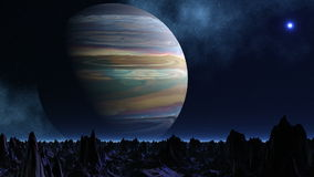 Огромные планета и UFO иллюстрация вектора