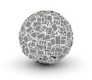 Огромный бумажный шарик от бумаги 3d isometry Стоковое Фото