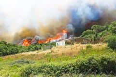 Огромный лесной пожар угрожает домов стоковые изображения rf