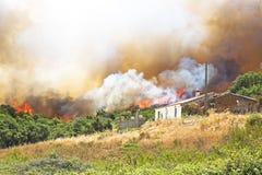 Огромный лесной пожар угрожает домов стоковые фотографии rf